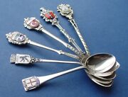 6 Memory Emblem Collecting Spoons Enamel Silver G305