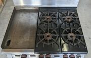 Wolf C83 Commercial Lp Gas 4 Burner Stove W/oven And Griddle Minimal Use