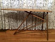 Antique Wooden Folding Ironing Board Table Wood Legs Farmhouse Furniture