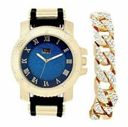 Bling-ed Out Hip Hop Rubber Bullet Band Mens Watch And Iced Cuban Bracelet - Rwc