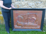 Rare Large Hammered Embossed Arts And Crafts Copper Viking Ship Wall Hanging C1910