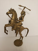 Vintage Brass Warrior Woman Statue On Horse Detachable 15 Inches