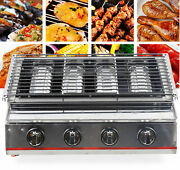 Commercial Gas Lpg Grill 4-burner Outdoor Bbq Tabletop Cooker Stainless Steel