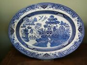Heritage Mint Oval Blue Willow Platter Vintage 1980and039s Xl 47cm 18 1/2