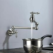 Pot Filler Brushed Nickel Folding Faucet Kitchen Faucet W/double Joint Swing Arm