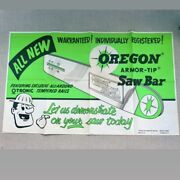 5andrsquo Rare Vtg 1950s Nos Oregon Saw Chainsaw Advertising Poster Sign Garage Banner