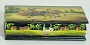 Trinket Box Black Lacquer Hp Russian 3 Ladies In Wagon With Driver 5x2.25x1.25