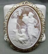 Antique 14k Yellow Gold Large Roman Scene Child Lady Horse Shell Carved Cameo