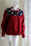Coldwater Creek Sz Xl Exciting Usa Stars Flag Chenille U.s. Jacket Art-to-wear