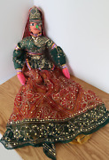 Vtg Hand Made Indian Marionette String Puppet Ventriloquist Wood Cloth