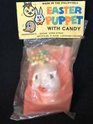 Vtg Antique Easter Bunny Puppet Dime Store Nos Candy Child's Toy Rabbit Creepy
