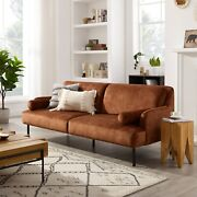 Modern 1-pc Sofa Fabric Couch Living Room Furniture Upholstered Brown Color Home
