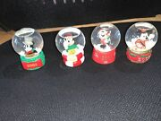 4 Mickey Mouse Snow Globes Penneys Minnie. 2005,06,07 And 08.
