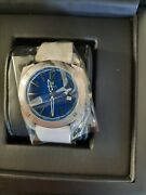 Dwiss Rs1 Swiss Quartz Ronda 714 Limited Edition 40 Mm Blue Dial White Leather