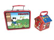 """Vintage Peanuts Snoopy """"joe Cool"""" Tin Lunch Box And Woodstock Small Tin Lot Of 2"""