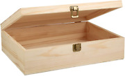 Woiworco Unfinished Wooden Box With Hinged Lid And Front Clasp For Crafts Art