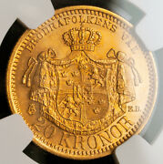 1899 Sweden Oscar Ii.andnbspgold 20 Kroner Coin. Norway Wwii Gold Hoard Ngc Ms64