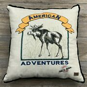 Field And Stream Outdoor Adventures Throw Pillow Moose Embroidery Cabin Decor