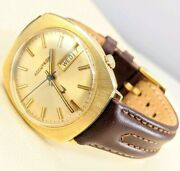14kt Gold Bulova Watch Accutron 2182 Vintage  Large Style Face And Leather Band