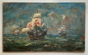 19thc Oil Impressionism Painting Christophe Colomb Santa Maria Colombus Caravel