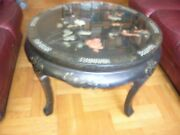 Vtg Antique Art Wooden Tea/coffee Table With 3 Art Chairs