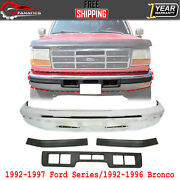 Front Bumper Chrome + Center And Side Molding For 1992-97 Ford Series/92-96 Bronco