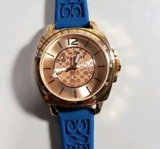 Coach Boyfriend Watch With 34m Rose Gold Face And Teal Blue Rubber Strap
