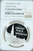 1996 France Silver 100 Francs Grand Place Bruxelles Ngc Pf 69 Ultra Cameo Top