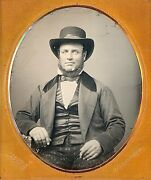 Bearded Man With Hat Odd Pants By Kertson New York 1/6 Plate Daguerreotype G109