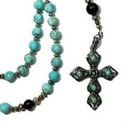 Anglican Rosary - Asian Turquoise Beads, Black Agate, Onyx