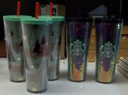 Starbucks Cup Tumbler Holiday Christmas Tree And Sequins Glitter Cups Lot 0f 5