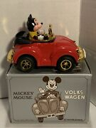 Vintage Mickey Mouse Volkswagen Wind Up Red Car Toy With Box Masudaya 1980's