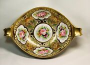 Noritake Porcelain 2 Handle Bowl Hand Painted Intricate Gold And Flowers 1921-1924