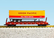 Usa Trains G Scale Flat Car W/trailer R17044 Union Pacific - Yellow/red/gray W/r