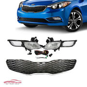 Fits Kia Forte 2014-2016 Front Upper Grille And Foglights With Harness Kit Set