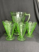 Jeanette Glass Green Depression Floral Poinsettia Pitcher And 4 Ftd Tumblers