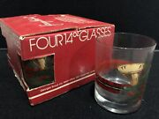 Wow Set Of 4 Vintage Georges Briard 22kt. Holiday Old Fashioned Glasses W/ Box