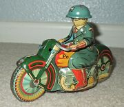 Antique Japan Tin Friction Drive Military Police P.d. Motorcycle By Saito