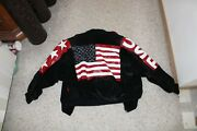 Vintage Black American Flag Outerwear By Phoenix Leather Jacket. Womenand039s Small