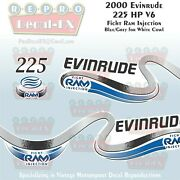 2000 Evinrude 225 Ficht Ram Injection Outboard Repro 3 Pc Marine Vinyl Decals