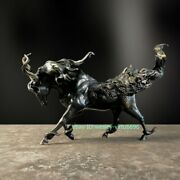 Hotel Office Home Fengshui Copper Lucky Fly Horse Unicorn Kylin Sculpture