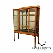1920and039s Antique Oak Bow Front China Display Cabinet On High Legs