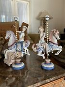 2 Lladro Porcelain Figurines Boy Girl Carousel Horses 1469 1470 By Jose Puche