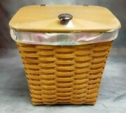 New Longaberger Hostess Mail Basket And Lid Striped Fabric 2001 No Plastic Liner