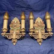 Quality Antique Double Candle Wall Sconces With Original Polychrome Patina 120a