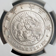 1914, Japan, Taisho Period. Large Silver Yen Coin Coin. 1-year Type Ngc Ms-62