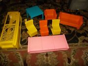 Vintage Barbie Townhouse Mattel Furniture Elevator Couch Chairs Bed Table 1973