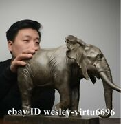 China Art Sculpture Pure Copper Bronze Carved Africa Elephant Statue Decoration
