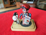 Vintage Fossil Watch And Wind Up Tin Toy News Boy Set