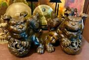 Rare Antique Cast Iron Foo Dogs - Large And Heavy - Amazing Quality And Details